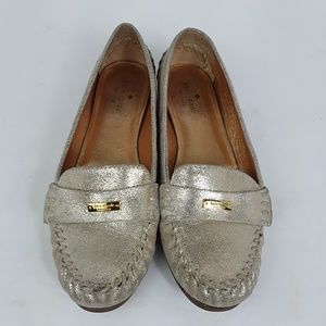 Kate Spade Metallic Gold Driving Loafers